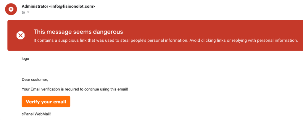 phishing email screenshot